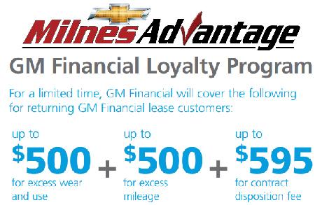 Gm Financial Lease >> Milnes Chevy Lease Loyalty Program